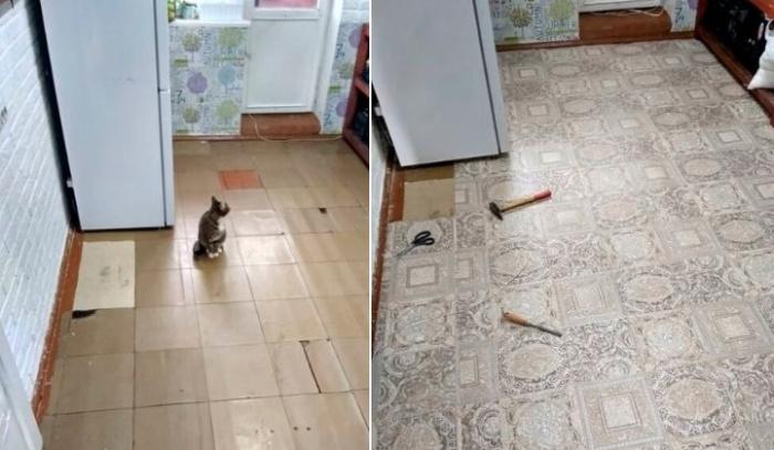 Старую напольную плитку заменили на линолеум. | Фото: cpykami.ru.