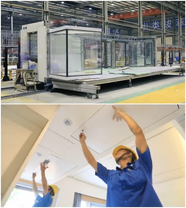 Внутренняя отделка, прокладка инженерно-санитарных коммуникаций и остекление квартир-модулей производится прямо на заводе (Чанша, Китай).