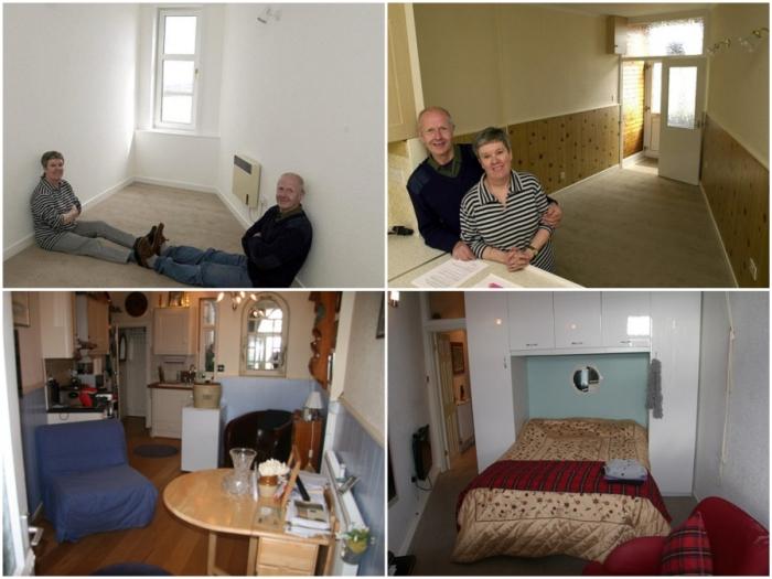 В узком доме имеется не только спальня, но и гостиная, кухня и ванная комната.