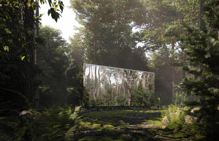 Зеркальная обшивка лесных домиков призвана «растворить» их в пейзаже, но навредить птицам никак не сможет (Arcana, Канада).   Фото: surfacemag.com.