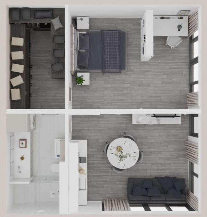 План квартиры стоимостью 159 тыс. дол. и площадью 65 кв. м (Mighty Duo B, San Ramon). | Фото: dailymail.co.uk/ © Mighty Building.