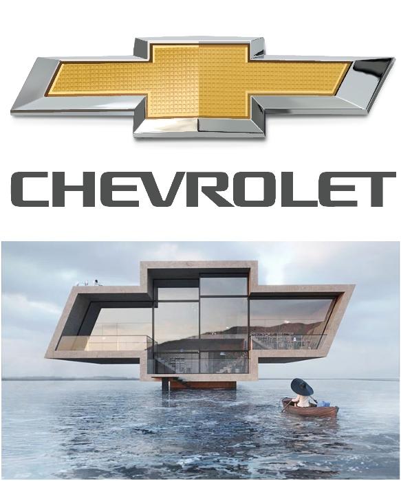Третий из серии домов был вдохновлен логотипом Chevrolet (проект «Crosshouse»).   Фото: ru.wikipedia.org/ successlifelounge.com, © Wamhouse.