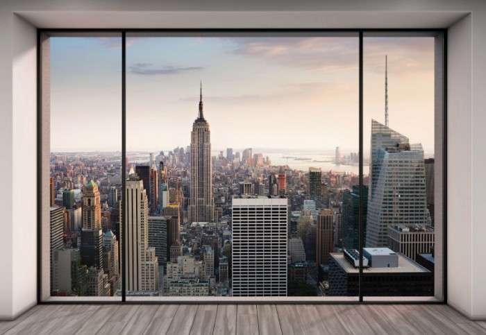 Городская панорама послужила основой для создания фальш-окна.