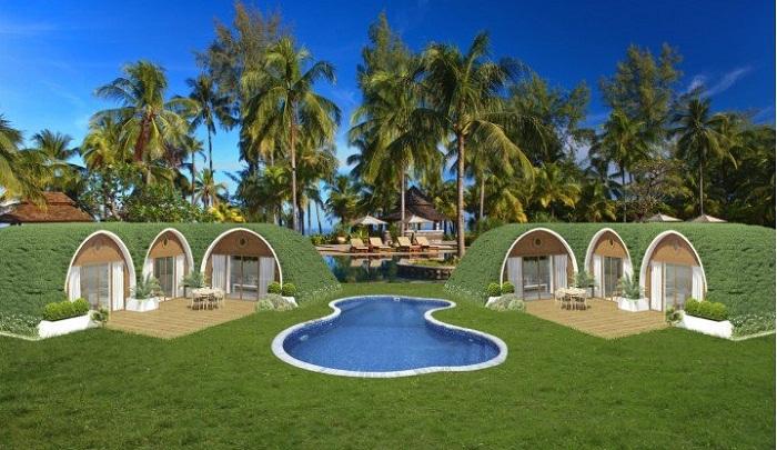 Целый комплекс «зеленых сказочных домов» органически вписываются в ландшафт местности.