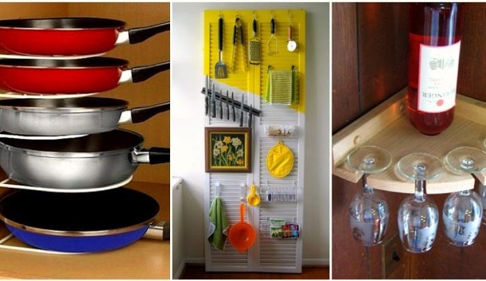 Под хранение кухонной утвари можно определить даже копеечные приспособления. | Фото: novate.ru.