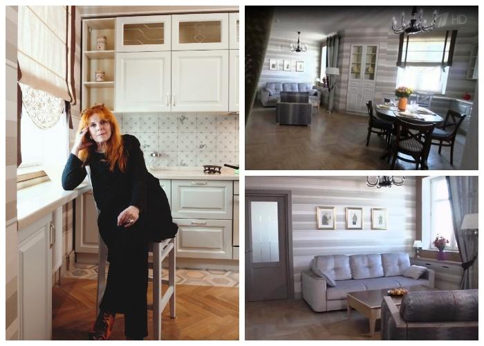 Клара Новикова в преображенной квартире после модного ремонта.