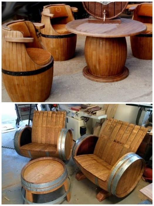 Стильная мебель из деревянных бочек станет настоящим украшением загородного участка. | Фото: s-zametki.ru