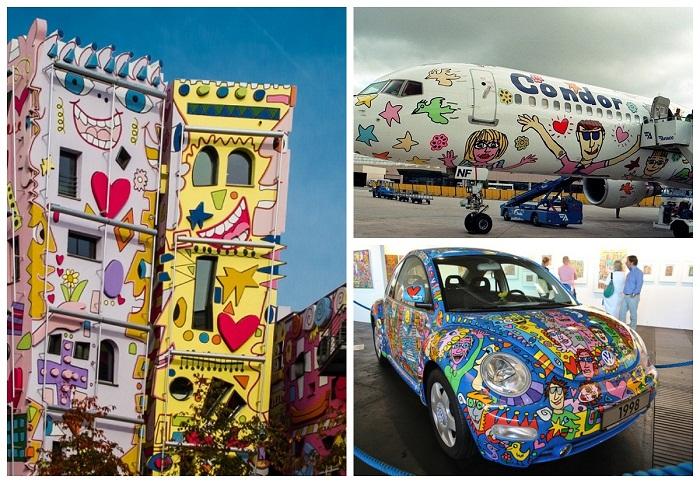 Позитивные рисунки Джеймса Рицци можно найти на домах, автомобилях и самолетах.