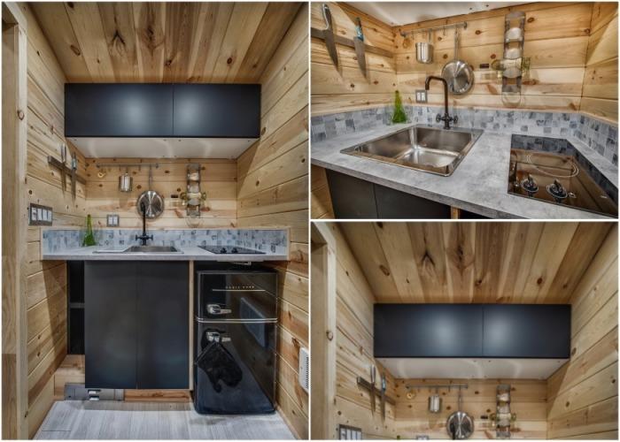 Кухня получилась функциональной и современной (Крошечный дом Acorn). | Фото: backcountrytinyhomes.com.