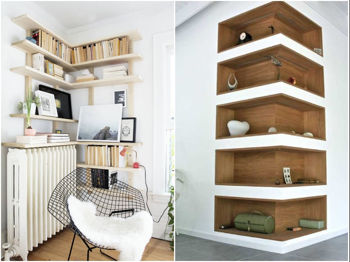 Открытые полки можно пристроить как во внутреннем углу, так на внешнем. | Фото: dizainvfoto.ru/ homebuilding.ru.
