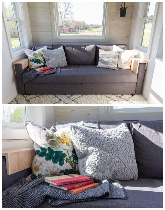 Мягкий диван с очаровательными подушками помогают создать домашнюю атмосферу (дом-фургон «Эльза»). | Фото: paradijsvogelsmagazine.nl.