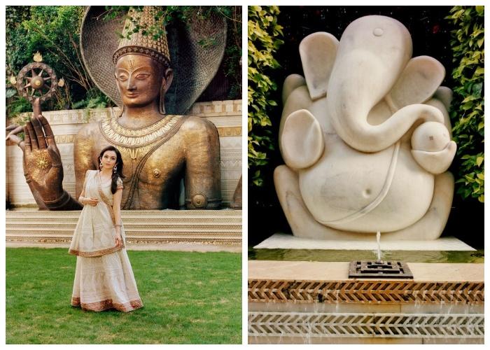 Статуи, фонтаны и висячие сады украшают огромный дом (Антилия, Индия).