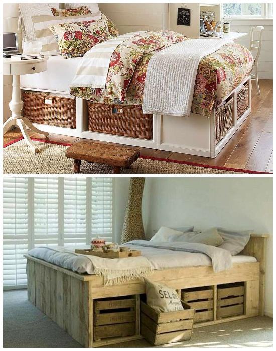Вещи можно хранить в обычных фруктовых ящиках и плетеных корзинках, установленных под кроватью. | Фото: roomble.com.