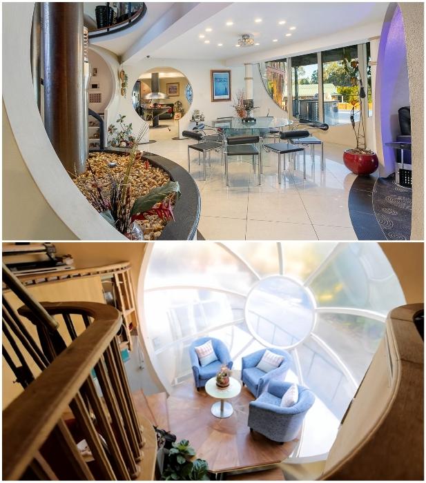В космическом доме оформлена стильная столовая и несколько зон отдыха на площадках лестничных маршей («Bubble House», Австралия). | Фото: interestingengineering.com.