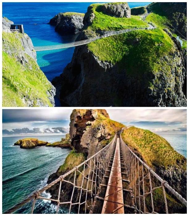 Подвесной мост Carrick-a-Rede Rope Bridge стал самой посещаемой достопримечательностью Северной Ирландии. |Фото: orangesmile.com.