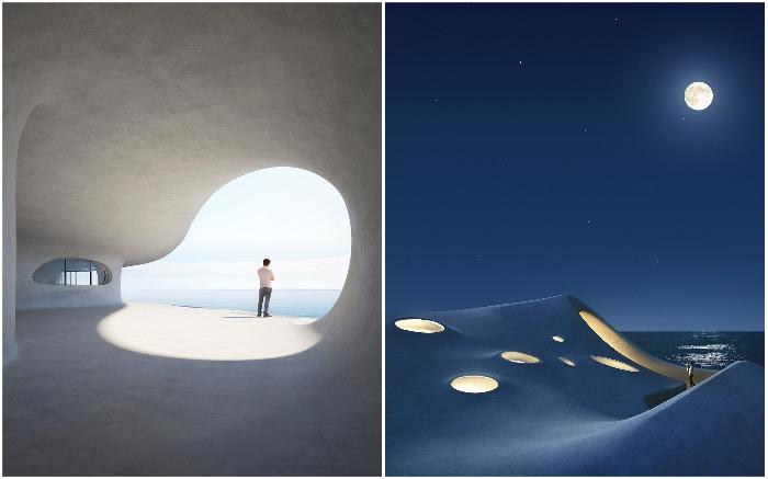 Попасть в зоны отдыха, расположенные со стороны залива можно как изнутри помещения, так и по наружным коридорам (концепт «Wormhole Library», Хайкоу). | Фото: archynaija.wordpress.com/ © MAD Architects.