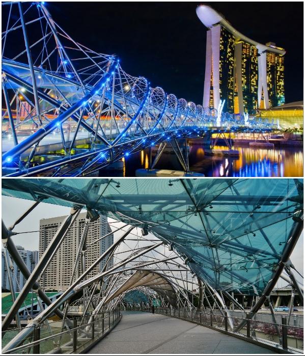 Изысканная конструкция в форме спиральной молекулы ДНК в темное время суток подсвечивается яркими неоновыми огнями. | Фото: singaporegid.ru/ commons.wikimedia.org.