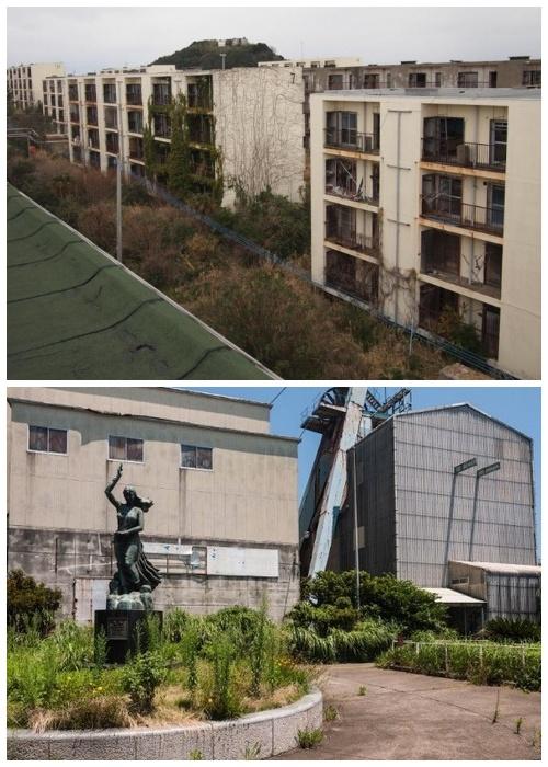 В городе теперь господствует растительность и ветер (Остров-призрак Икешима, Япония).