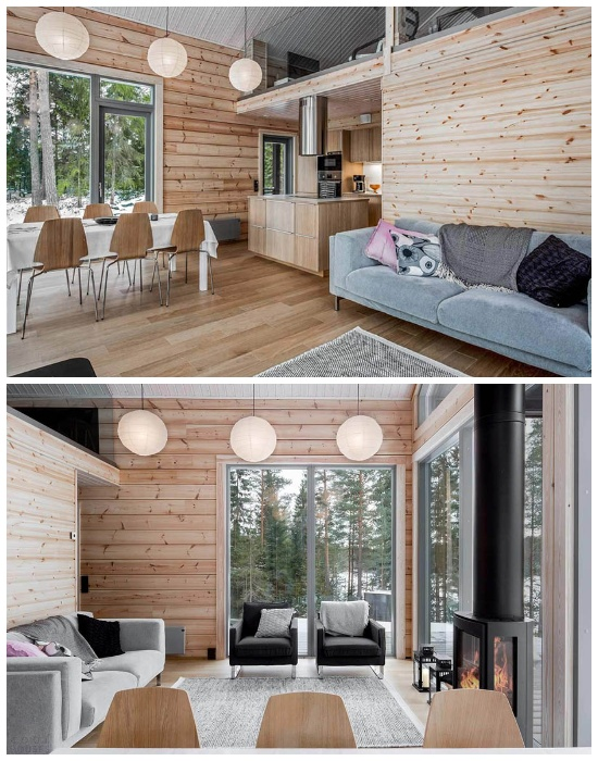 Новая технология помогает создавать дома большой площадью без дополнительных опорных стен (Деревянный сруб Log Villa).