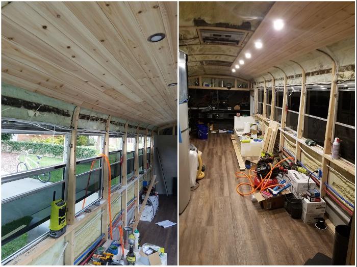 Для отделки салона автобуса использовали материалы из натурального дерева. | Фото: facebook.com/ © Going Boundless.