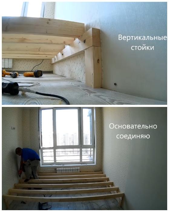 Установить вертикальные стойки по периметру и хорошо укрепить. | Фото: youtube.com.