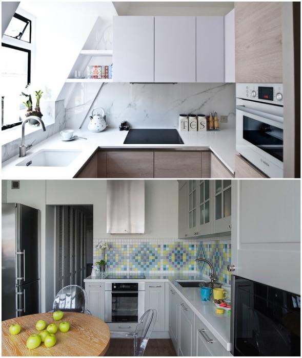 Примеры правильного размещения трех основных объектов на кухне.