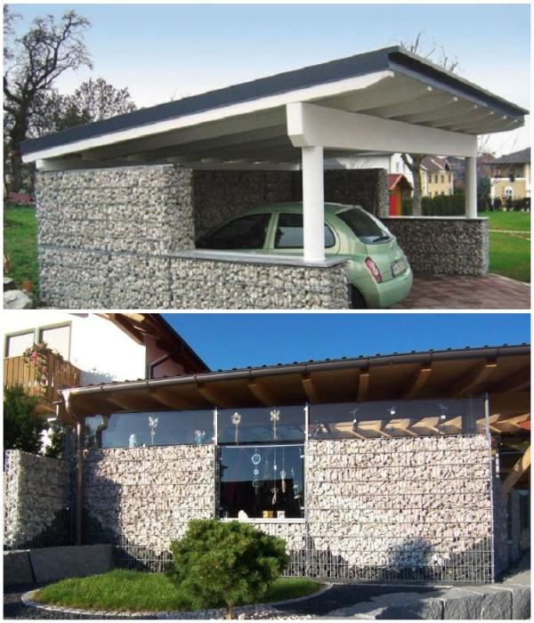 Летняя кухня и гараж для машины из габионов. | Фото: takprosto.cc.