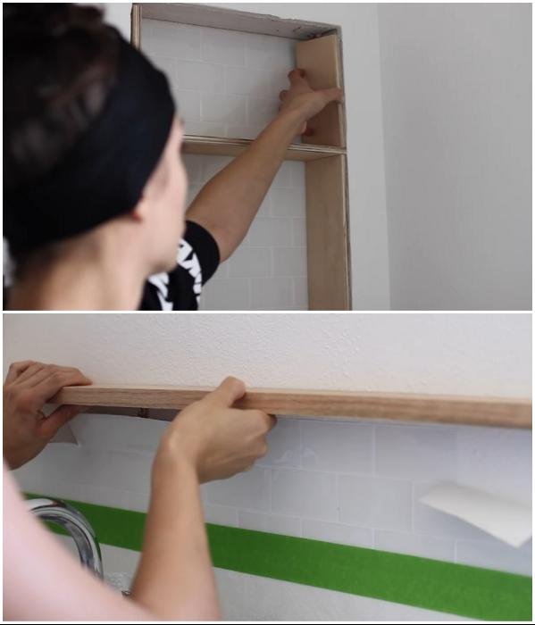 После высыхания краски можно закреплять навесные и встроенные детали. | Фото: youtube.com/ © Living to DIY with Rachel Metz.