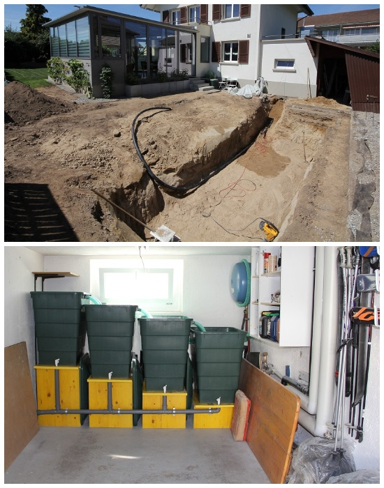 Установка водопровода и системы фильтрации воды для домашнего пруда. | Фото: elegimaldia.es.