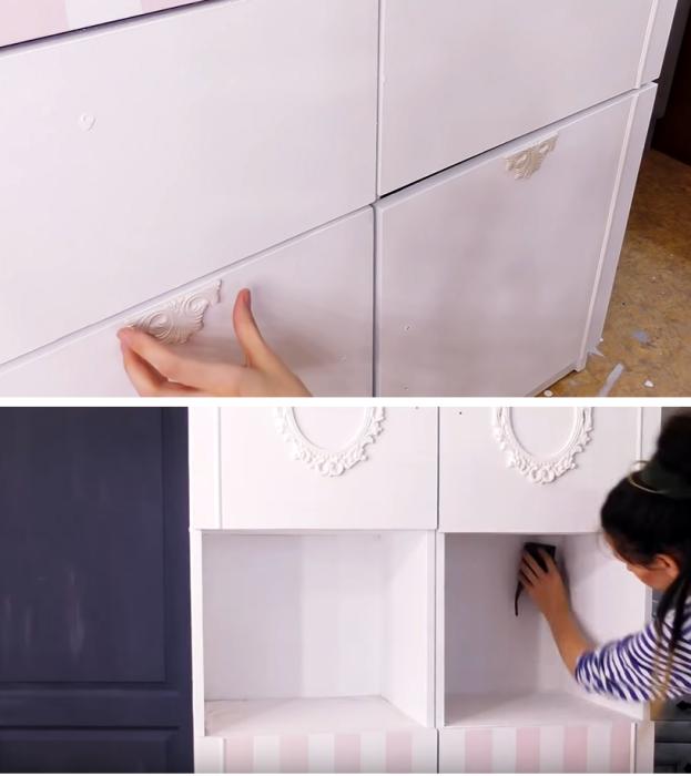 Перед «состариванием» мебели все шероховатости нужно зачистить и приклеить недостающие декоративных детали. | Фото: youtube.com/ © DrujkaLena.