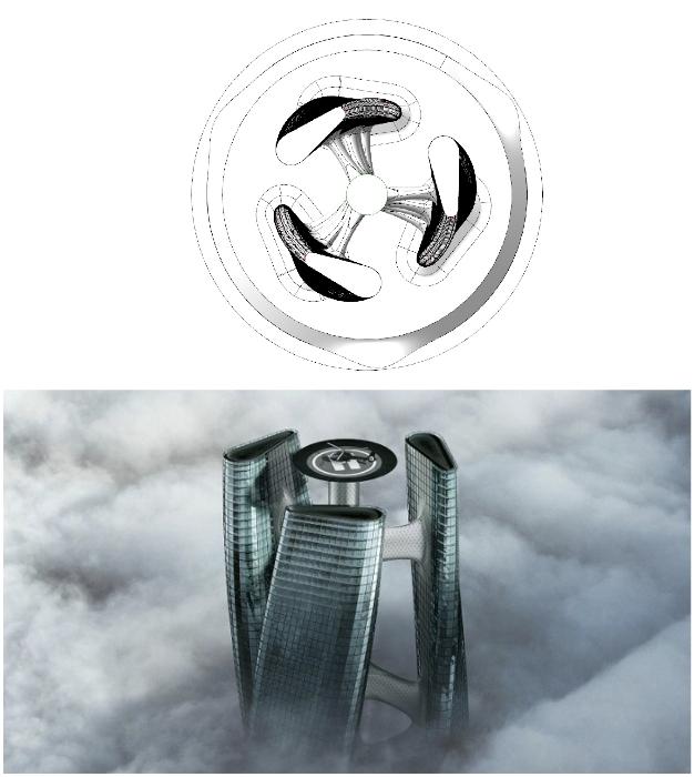 На вершине небоскреба предусмотрена вертолетная площадка (концепт Squall Tower).