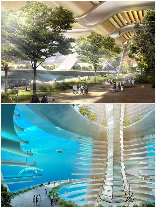 Труба в центре вертикального сада обеспечит естественную вентиляцию и освещение подводного города (концепт «Eco Atlantis»). | Фото: dezeen.com.