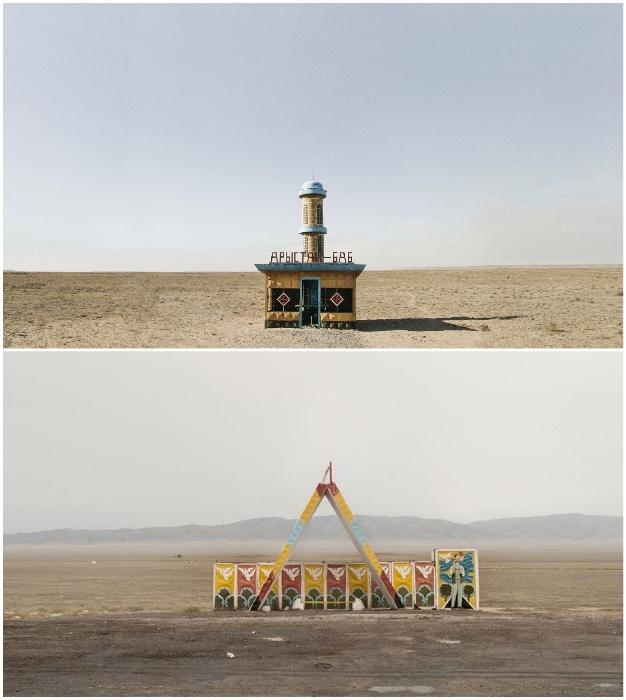 Канадский фотограф долго не мог понять, зачем в чистом поле создавались настоящие шедевры архитектуры (Автобусные остановки Казахстана). © Christopher Herwig.