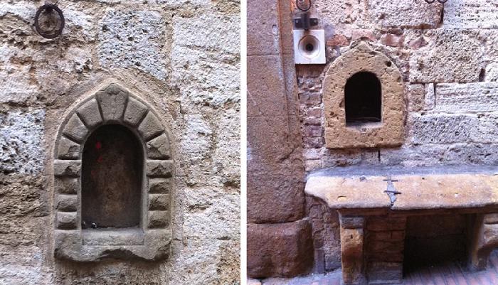 В фасадах средневековых сооружений еще можно разглядеть уникальные элементы, которые помогали выживать торговцам во время чумы. | Фото: museodelvinofirenze.it/ storienogastronomiche.it.