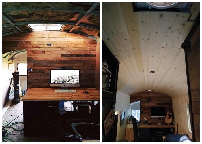 Крошечный домик на колесах вместил даже рабочий кабинет.