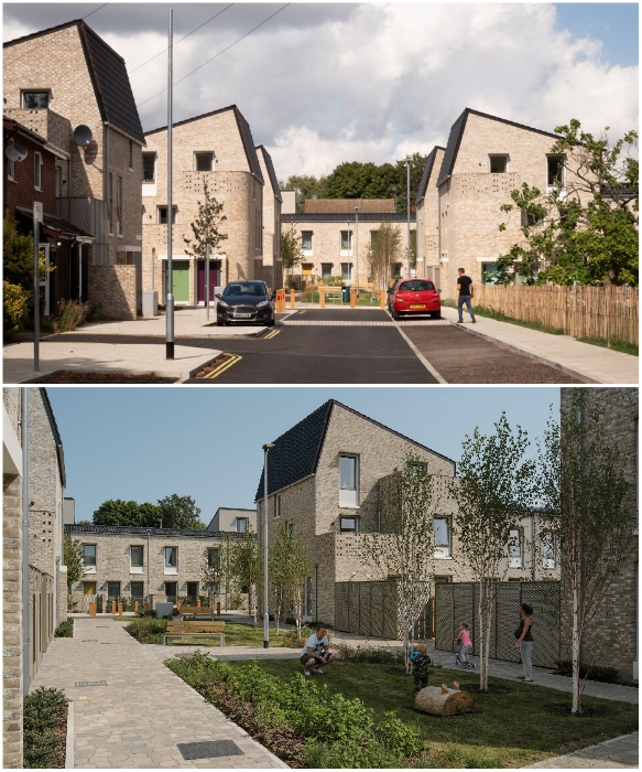 Дома на Goldsmith Street расположены так, чтобы и автомобили могли беспрепятственно двигаться, а детям можно было играть в безопасности. | Фото: azuremagazine.com/ bath.ac.uk.