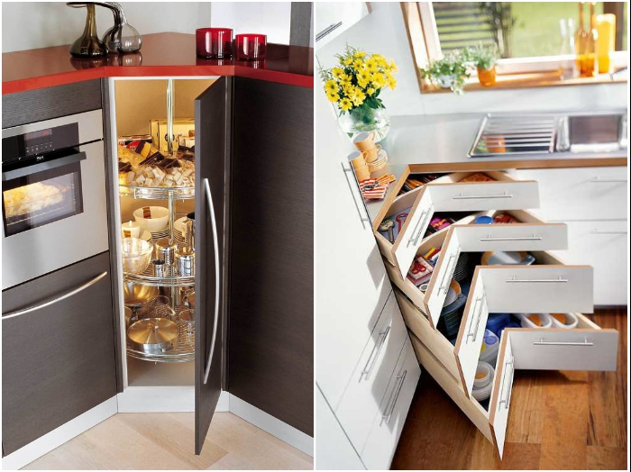 Угловые тумбы в кухонных гарнитурах с выдвижными системами задействуют каждый сантиметр и упростят пользование. | Фото: demidov-art.ru/ yandex.ru.