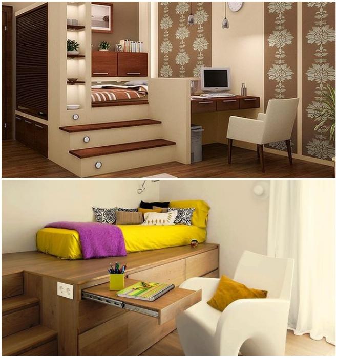 Рабочую зону в спальне можно организовать вместе с подиумом. | Фото: livemaster.ru/ pinterest.ru.