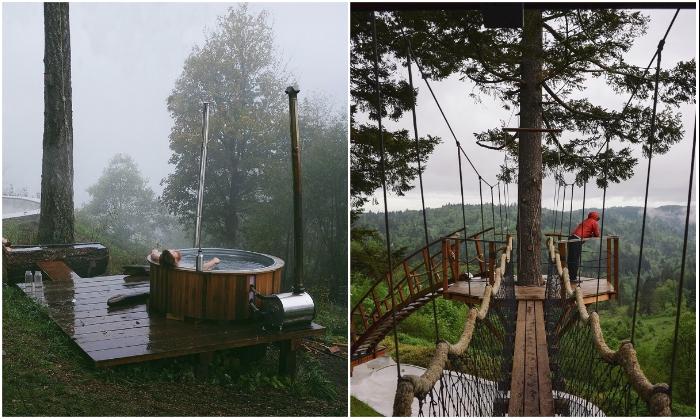 Огромная ванна на лоне природе и обзорная площадка на дереве – идеальный способ расслабления и восстановления (Фостер Хантингтон, «Treehouse»). | Фото: rope-park.com.
