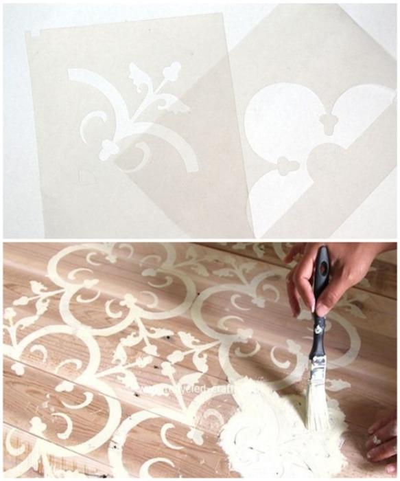 Трафарет для создания необычного коврика Аманда сделала сама. | Фото: favim.com.