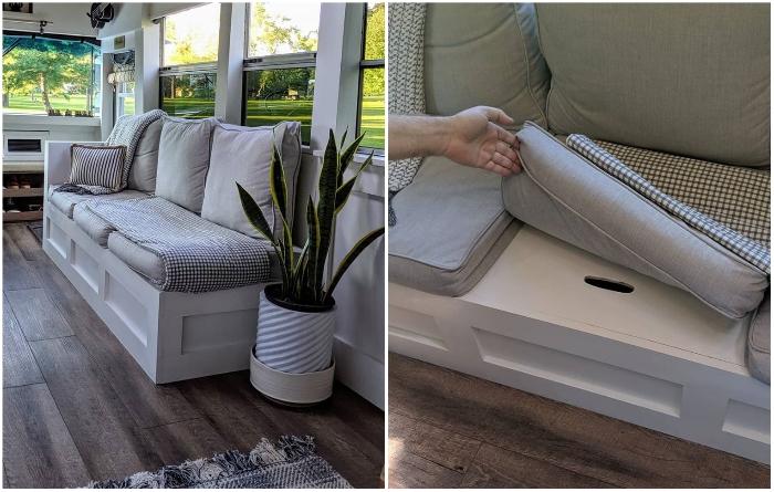 Многофункциональный диван с вместительными системами хранения Робби сделал самостоятельно. | Фото: instagram.com/ © going_boundless.