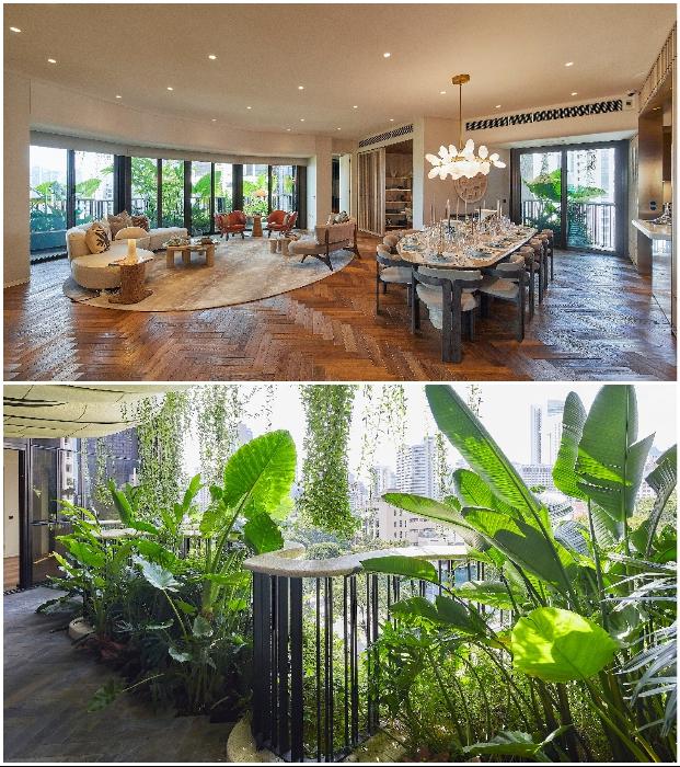 Все пространство квартир организовано вокруг огромной гостиной, с которой можно попасть в экзотический сад.