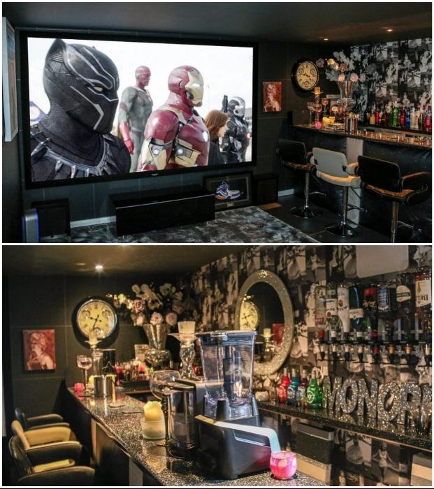 Полностью оборудованный бар украсит любой вечер, даже если владелец решит посмотреть фильм самостоятельно (Эссекс, Великобритания).