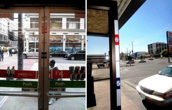 В некоторых штатах на входной двери супермаркетов и в других торгово-развлекательных точках можно увидеть ленту для измерения роста человека. | Фото: cctv-information.co.uk.