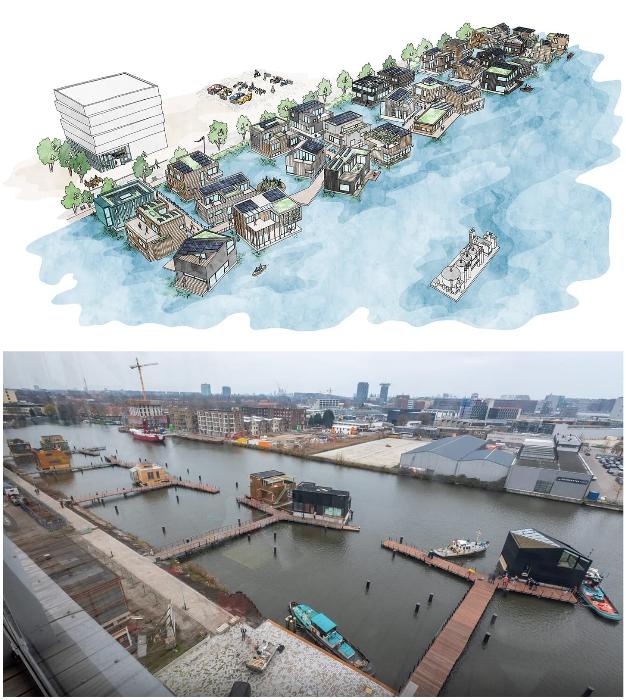 Плавучий район Амстердама, состоящий из 46 домов был организован в промышленной зоне пригорода (Schoonschip, Нидерланды).