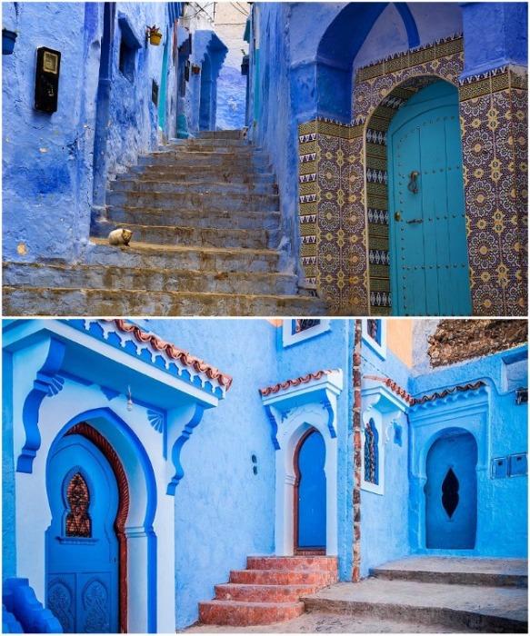 На голубых улицах города нет мусора, грязи и всегда идеальный порядок (Chefchaouen, Марокко). | Фото:  мbezkordonu.com.