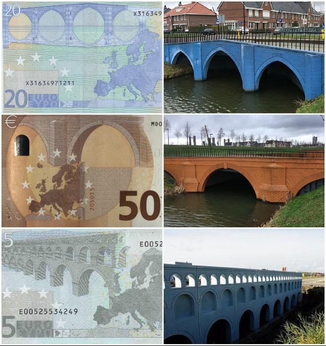 Вымышленные мосты с купюр евро обрели реальные очертания в голландском городке Спейкениссе. | Фото: boredpanda.com/ m.fotostrana.ru.
