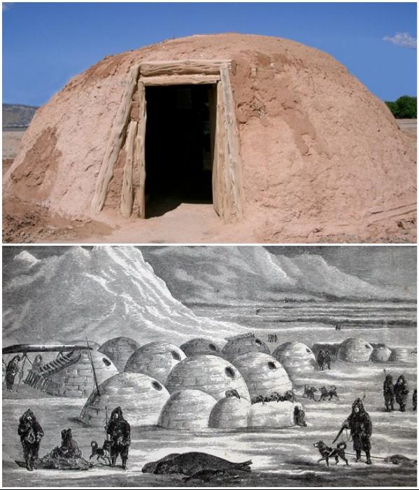 Хоган – традиционное жилище индейского племени навахо и круглый ледяной дом иглу, до сих используемый эскимосами северных регионов планеты. | Фото: factroom.ru/ berlogos.ru.