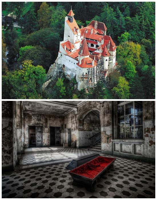 Созданный для привлечения туристов Замок Дракулы и его знаменитый гроб (Румыния).