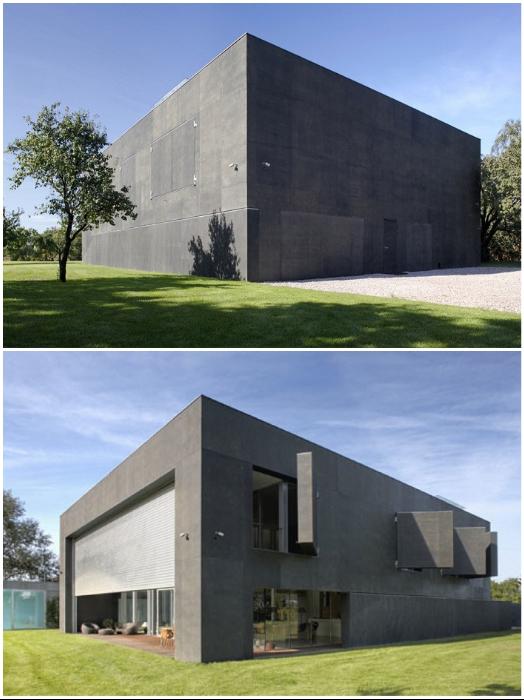 Этот устрашающий бункер оказался довольно современным и светлым особняком площадью 580 кв. м. (если его ставни открыты).   Фото: budport.com.ua.